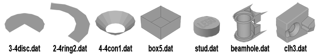 A range of official LDraw primitives