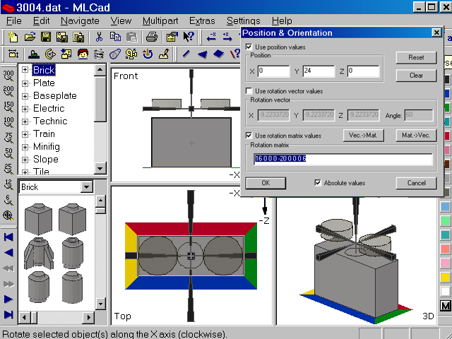 Screenshot of MLCad showing the dialog to manipulate the coordinates
