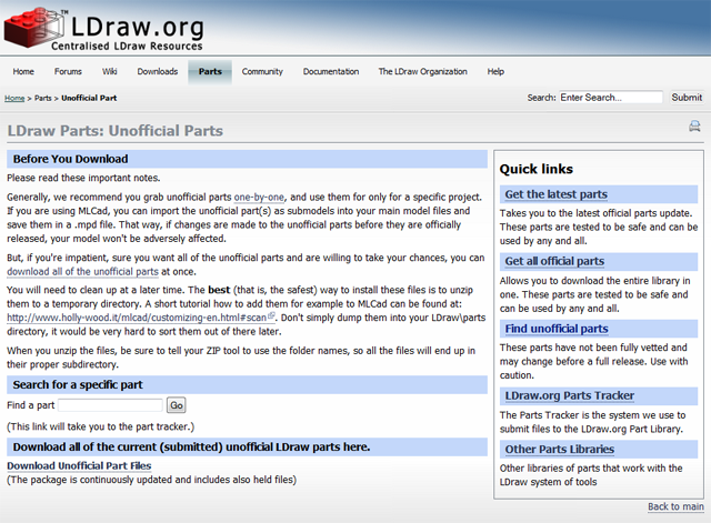 Screenshot LDraw.org